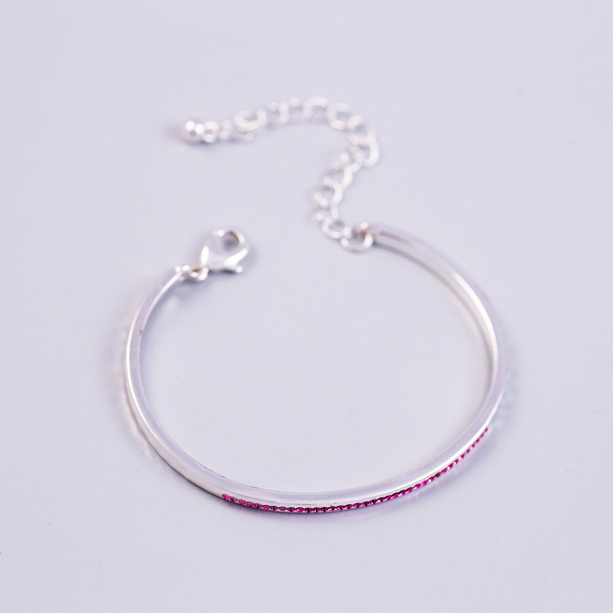 Silver Rose October Birthstone Bangle
