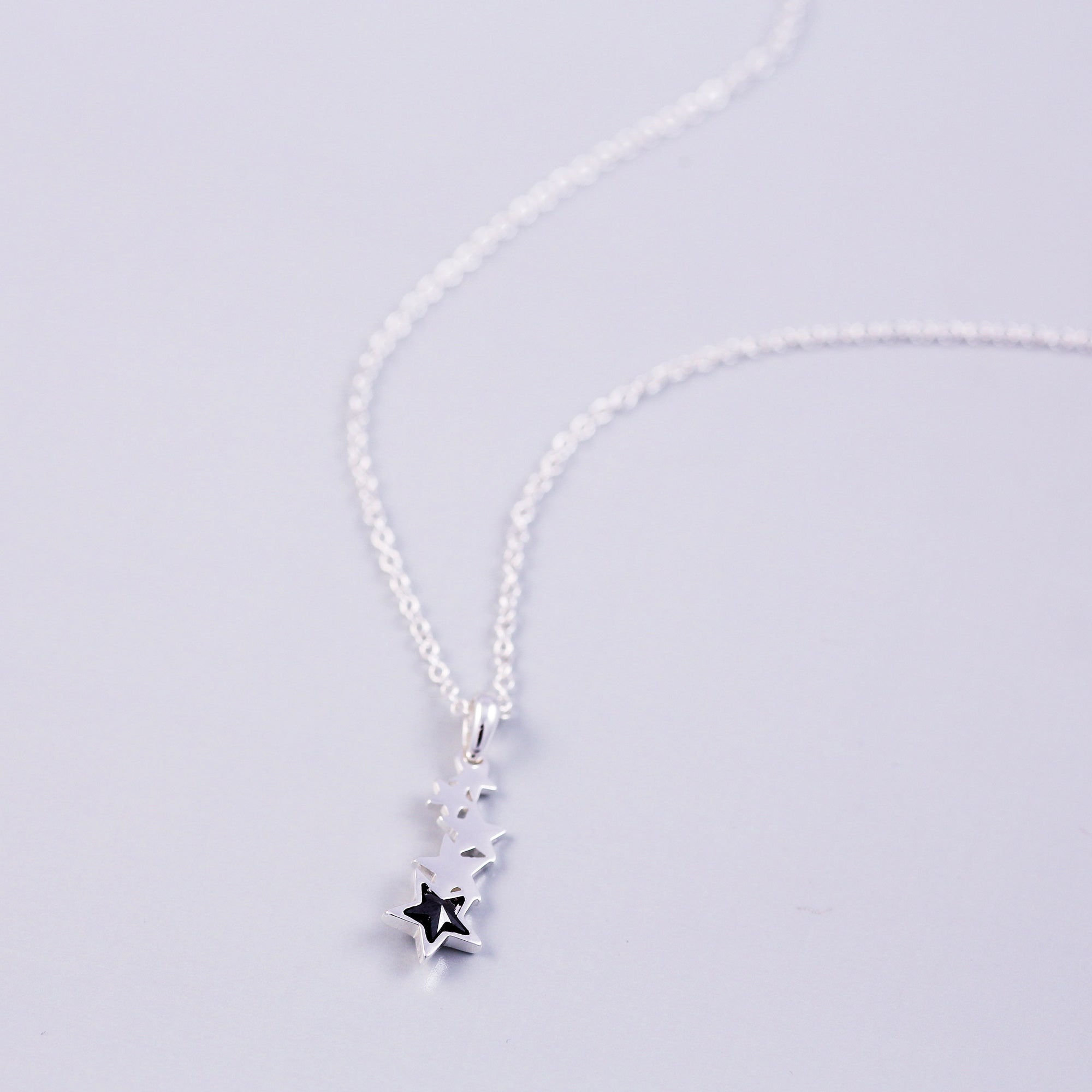 Silver & Jet Crystal Shooting Star Necklace