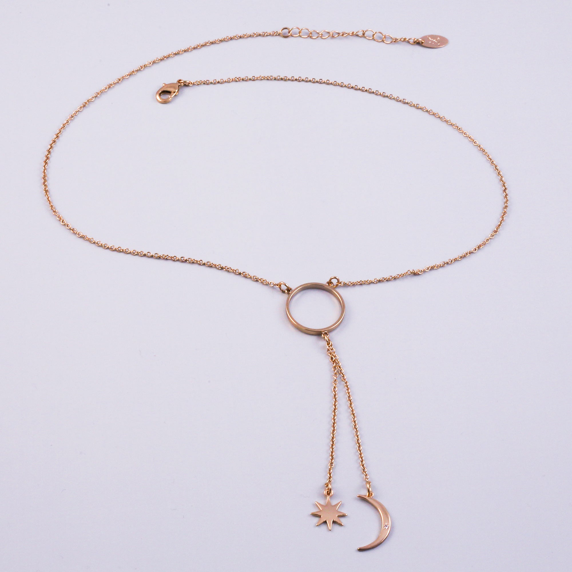 Gold Triple Moon Goddess Star Lariat Necklace
