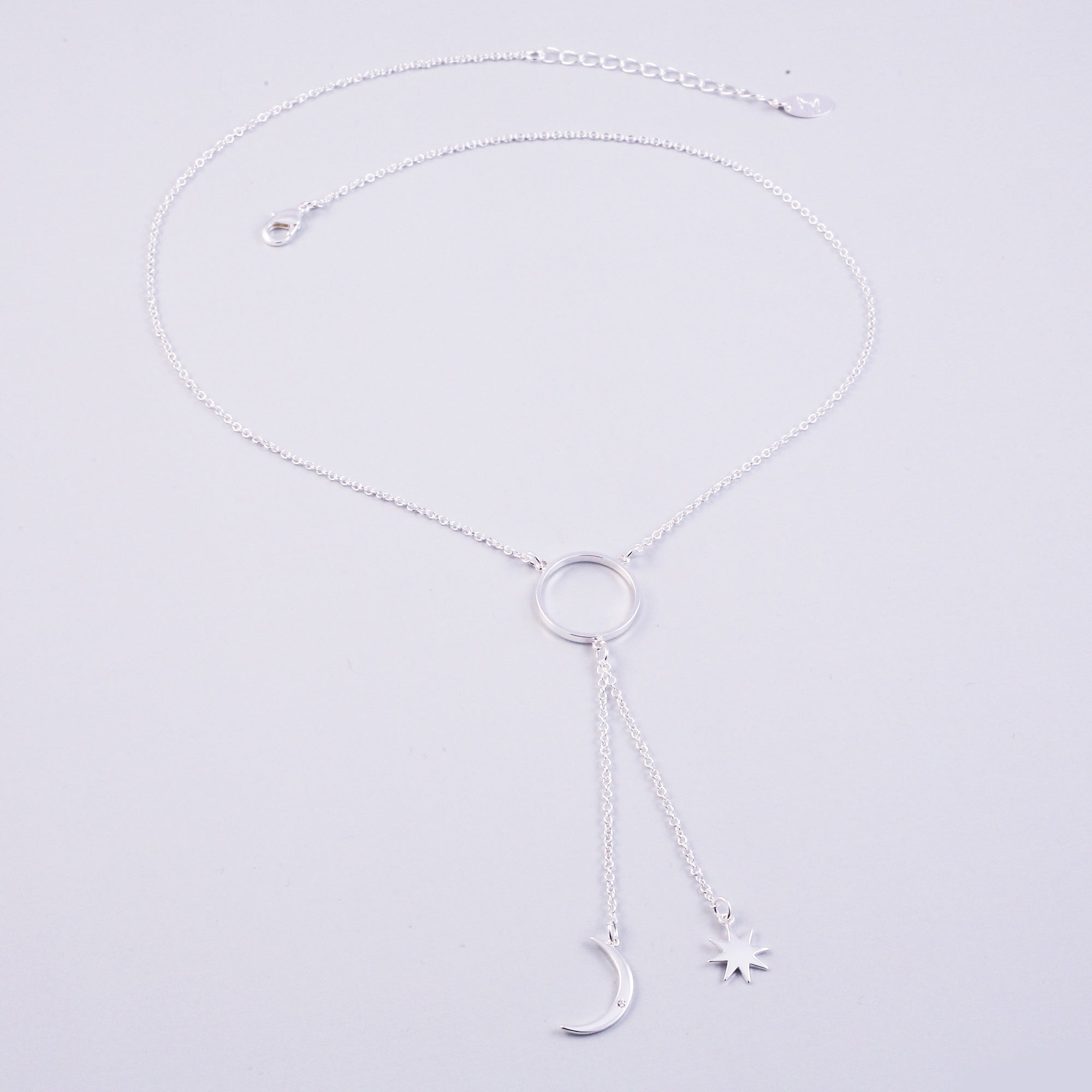 Silver Triple Moon Goddess Star Lariat Necklace