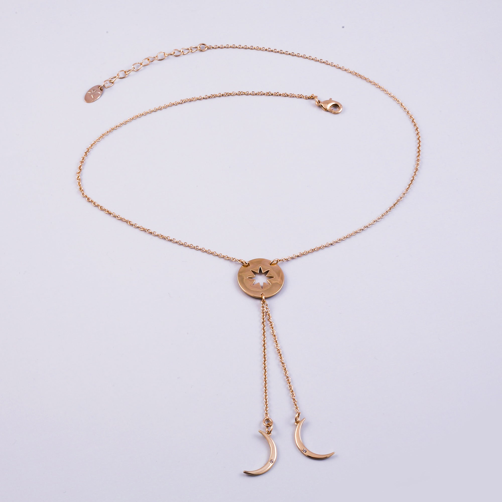 Gold Triple Moon Goddess Moon Lariat Necklace