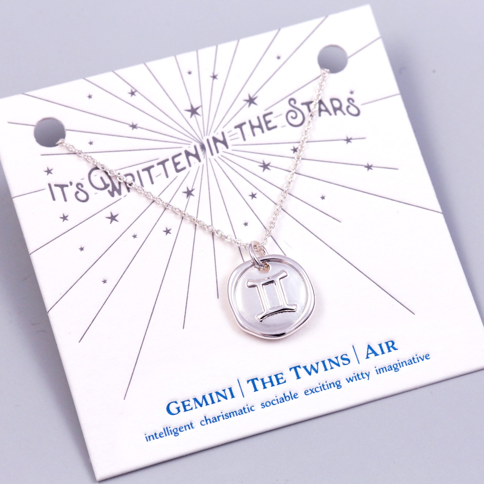 Silver Gemini Necklace Its Written in the Stars