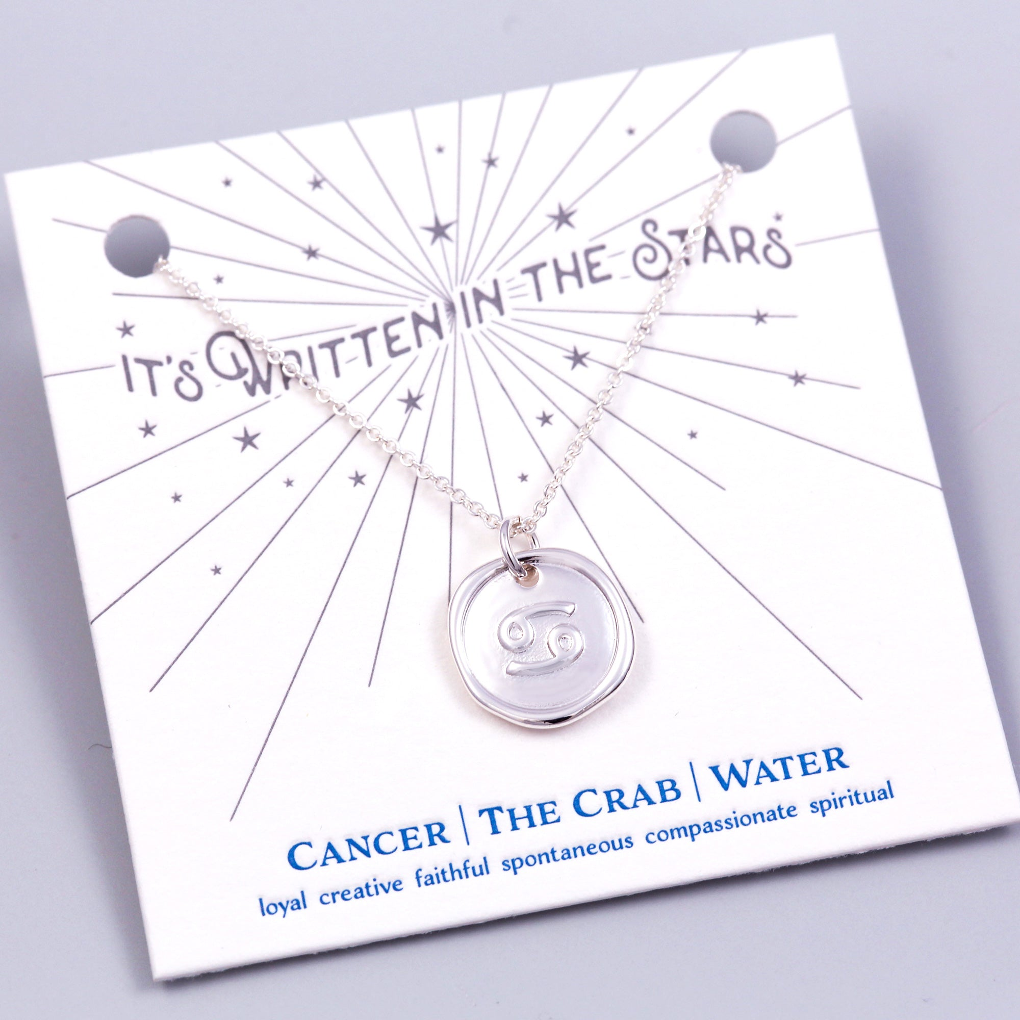 Silver Cancer Necklace Its Written in the Stars