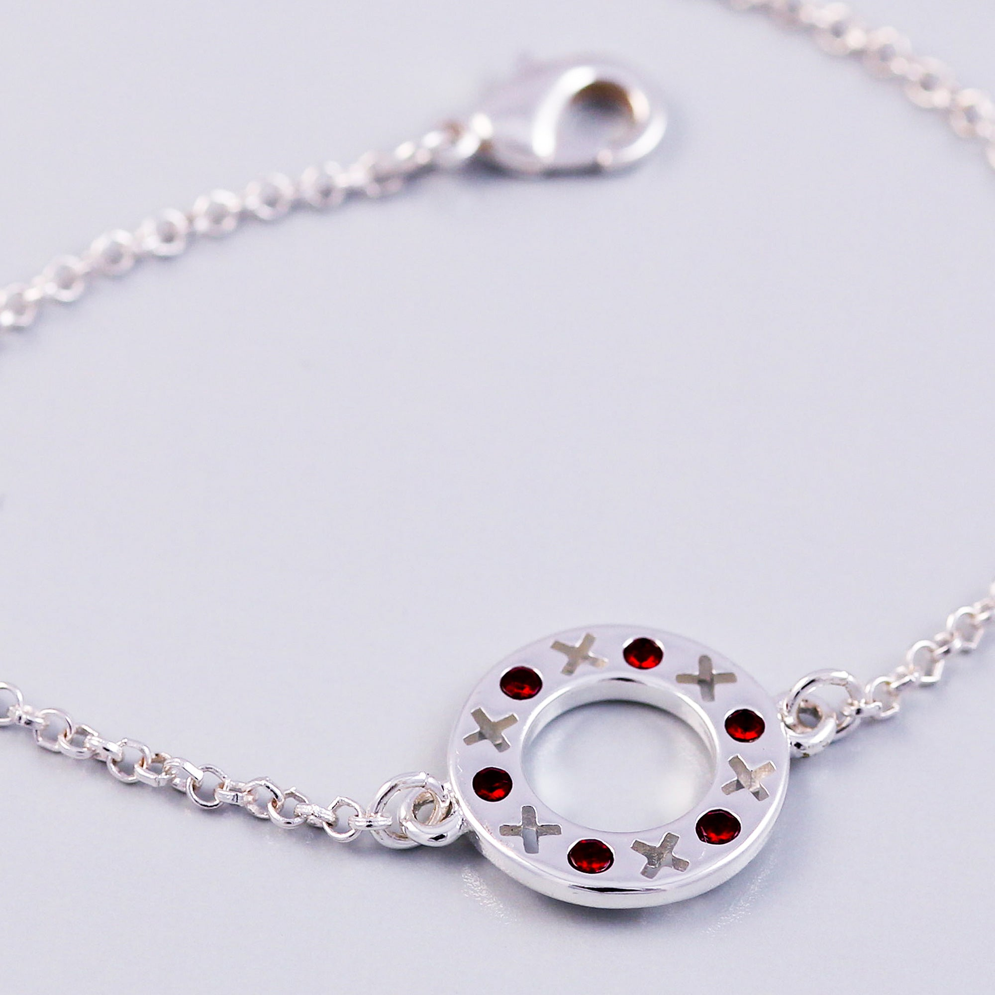 Silver Siam January Birthstone XOXO Circle Bracelet