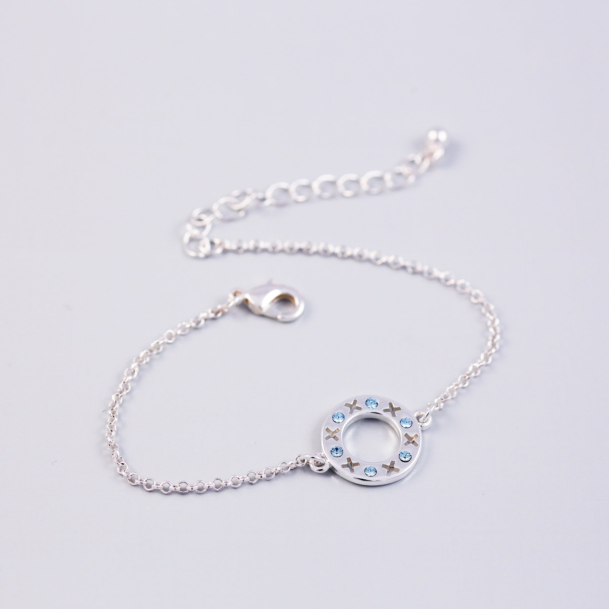 Silver Aquamarine March Birthstone XOXO Circle Bracelet
