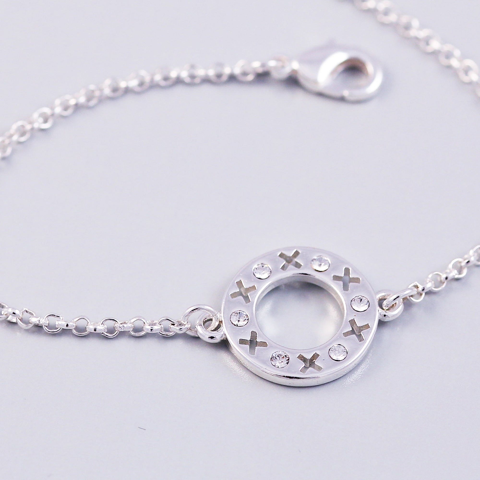 Silver Crystal April Birthstone XOXO Circle Bracelet