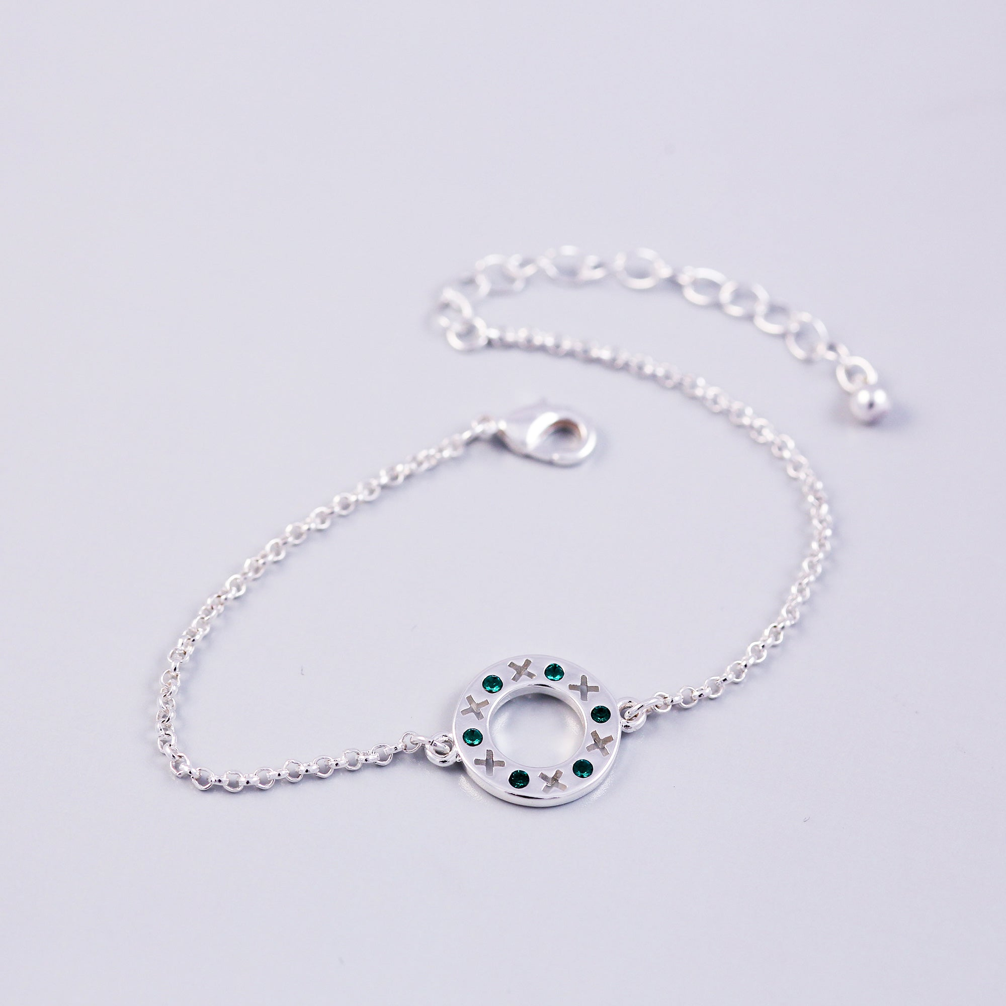 Silver Emerald May Birthstone XOXO Circle Bracelet