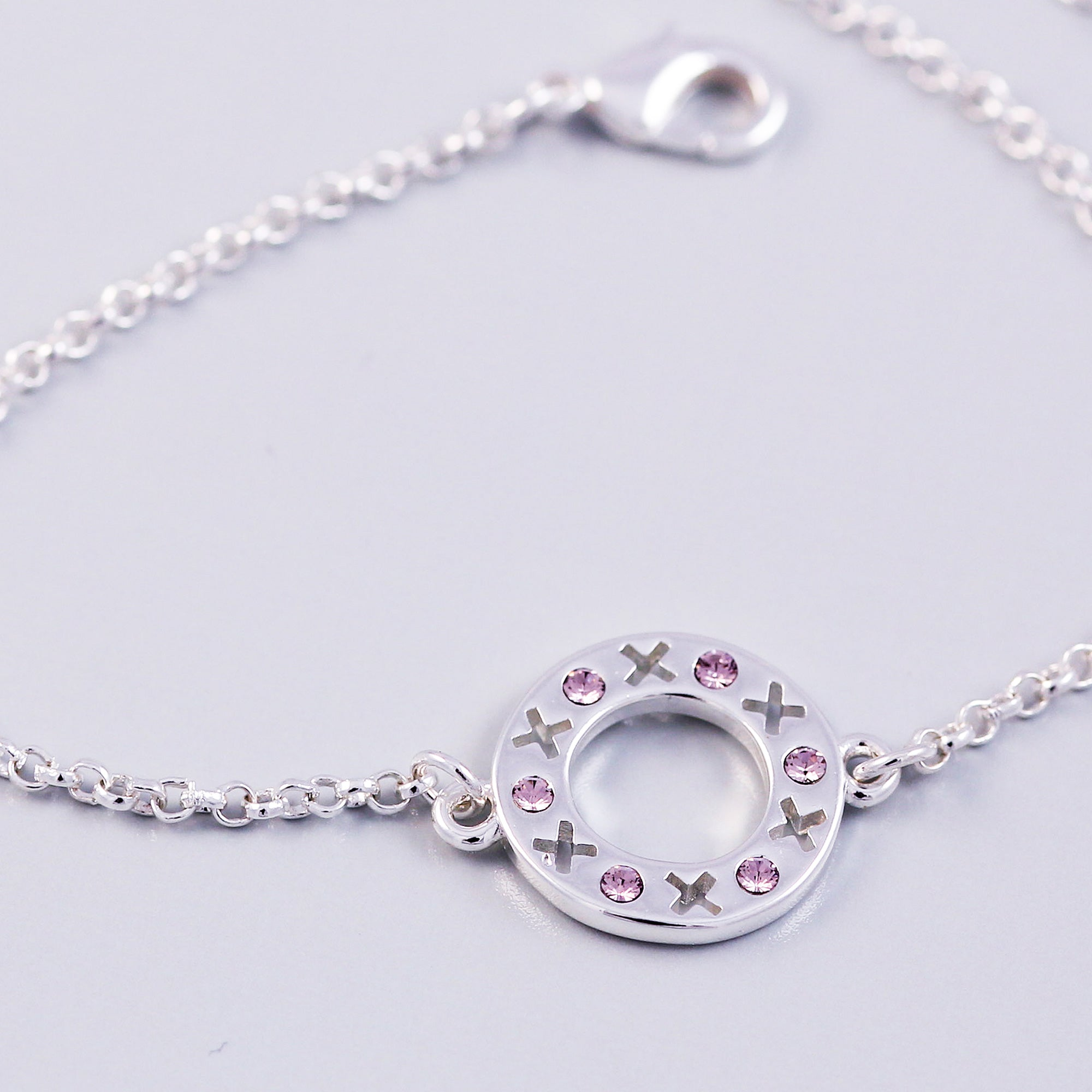 Silver Light Amethyst June Birthstone XOXO Circle Bracelet