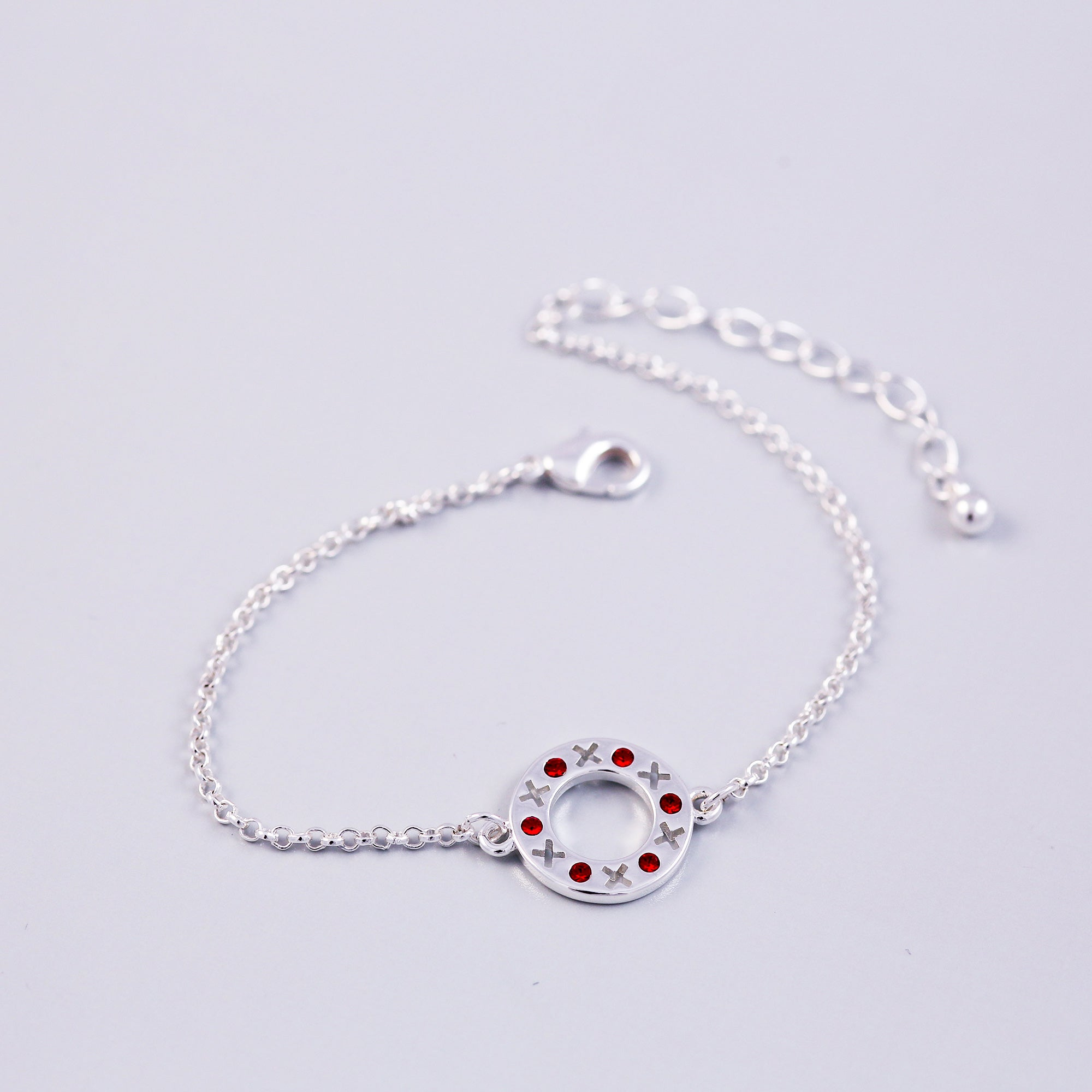 Silver Ruby July Birthstone XOXO Circle Bracelet
