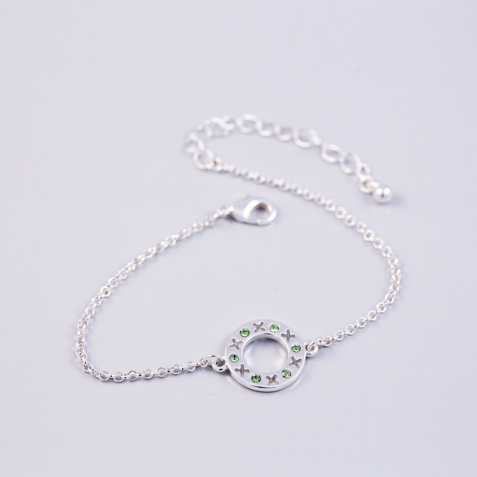 Silver Peridot August Birthstone XOXO Circle Bracelet