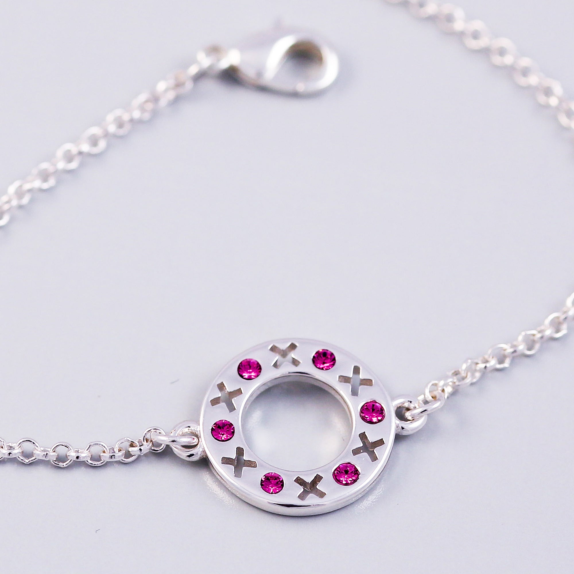 Silver Rose October Birthstone XOXO Circle Bracelet