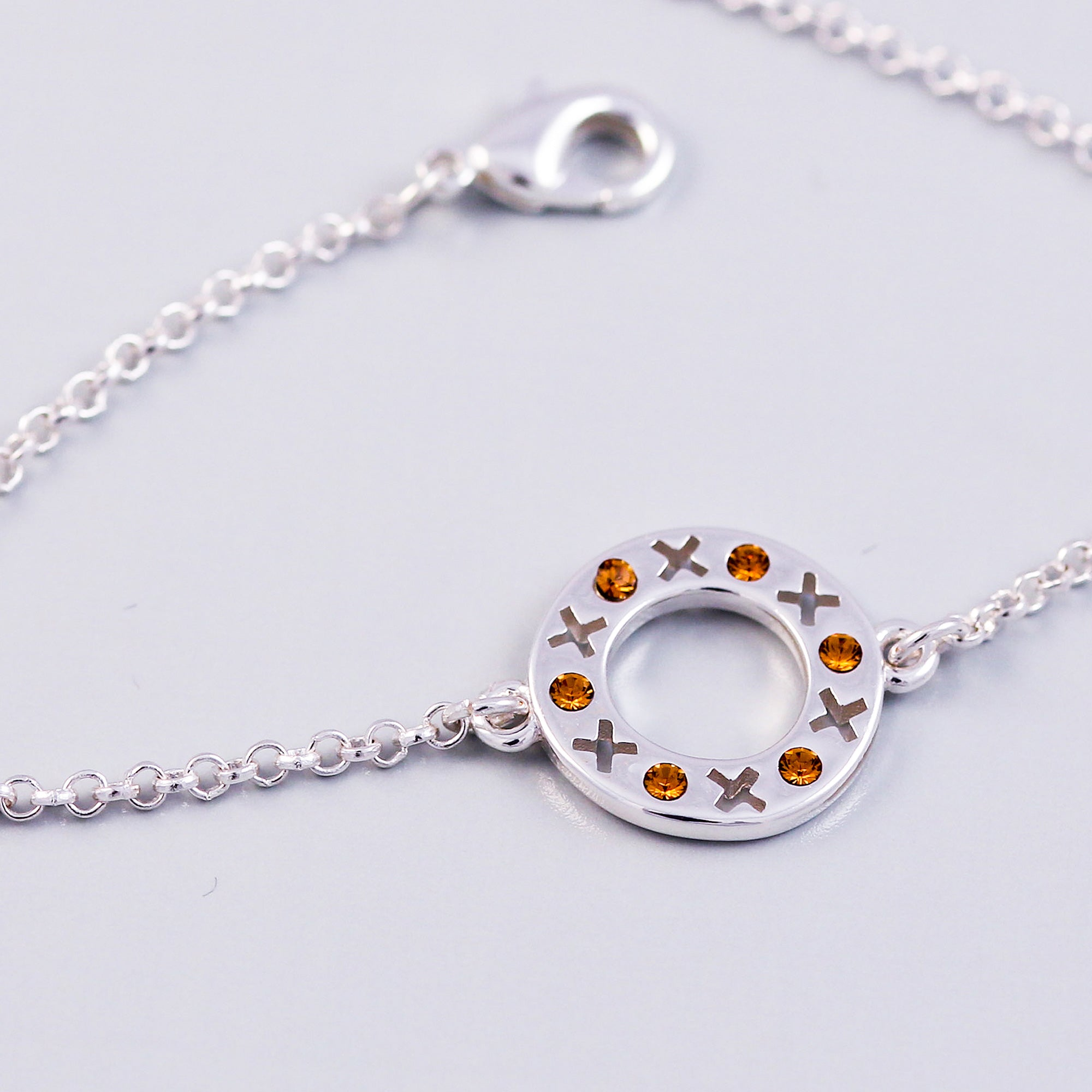 Silver Topaz November Birthstone XOXO Circle Bracelet
