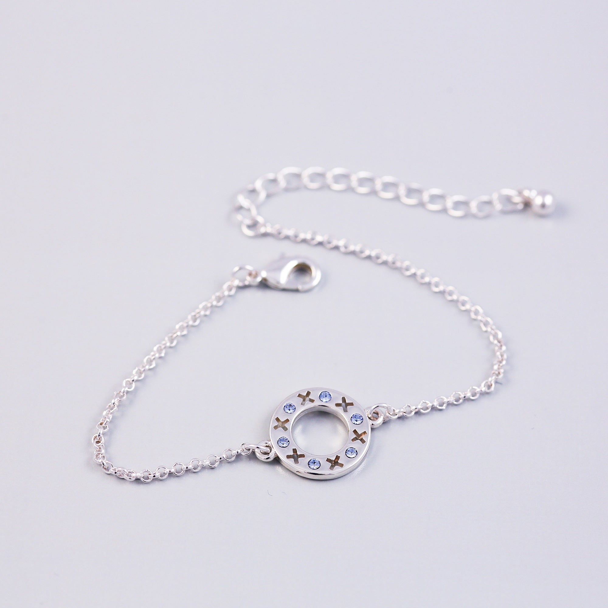 Silver Light Sapphire December Birthstone XOXO Circle Bracelet