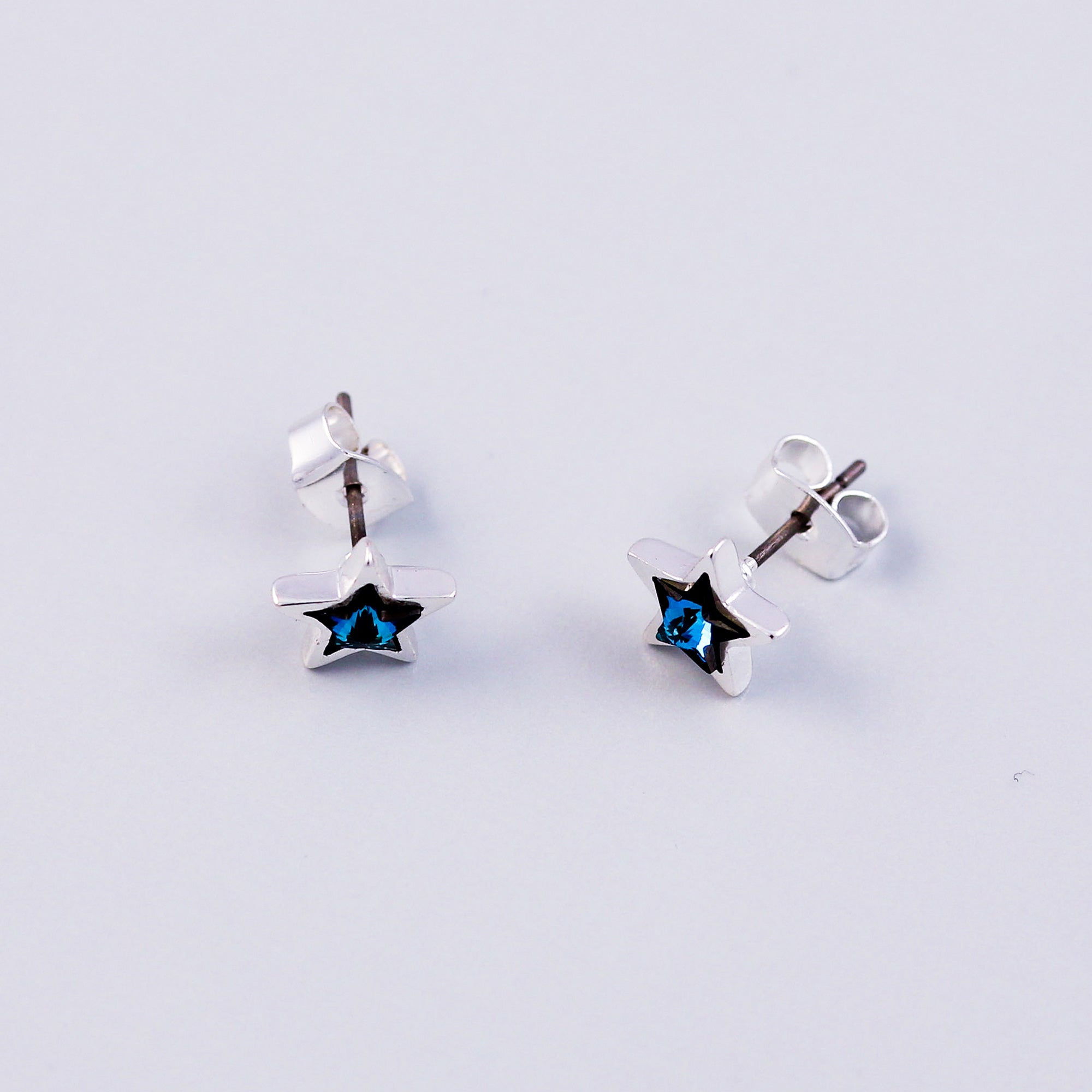 Silver & Blue Crystal Star Stud Earrings