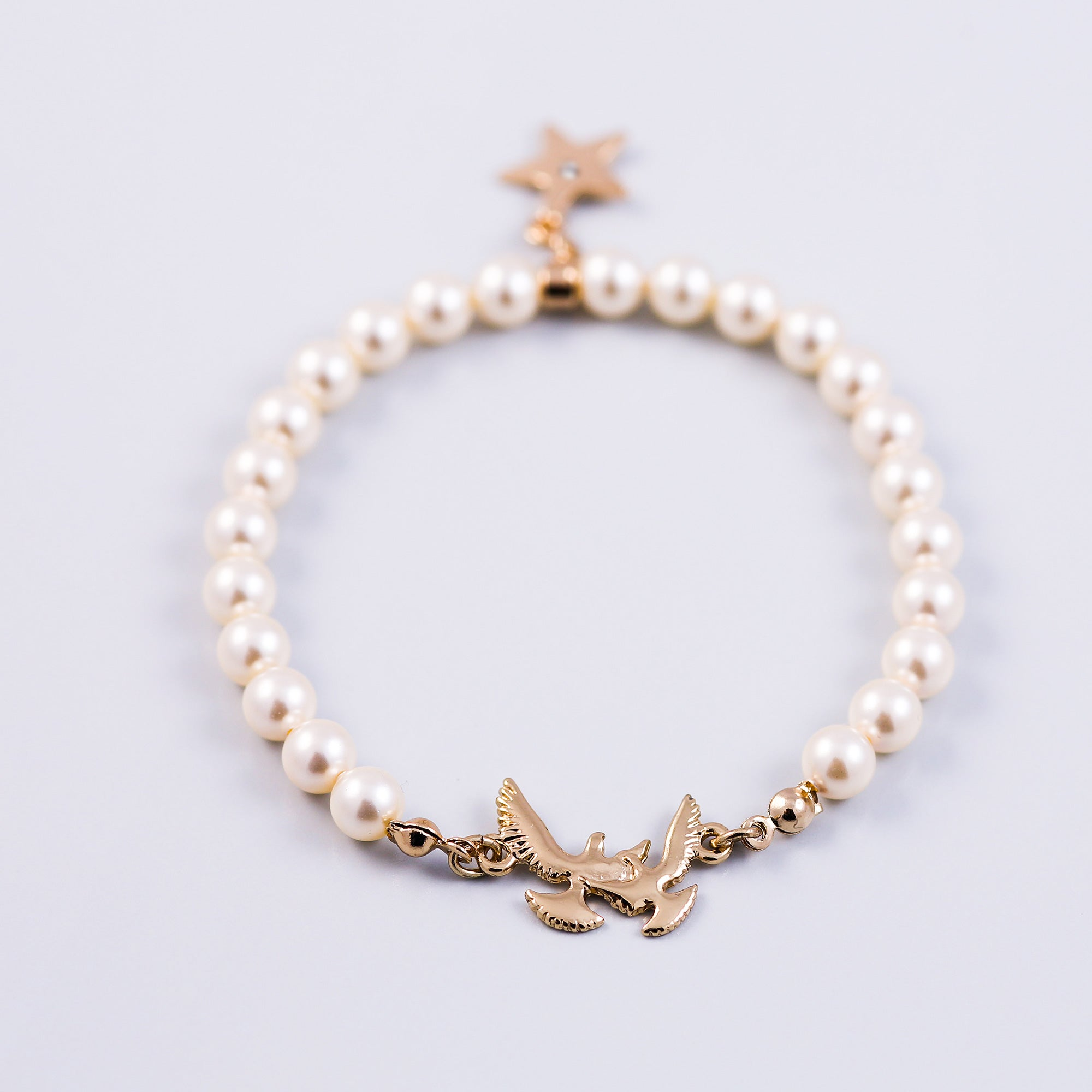 Personalised Bird Pearl Bracelet Made with Pearls from Swarovski ®