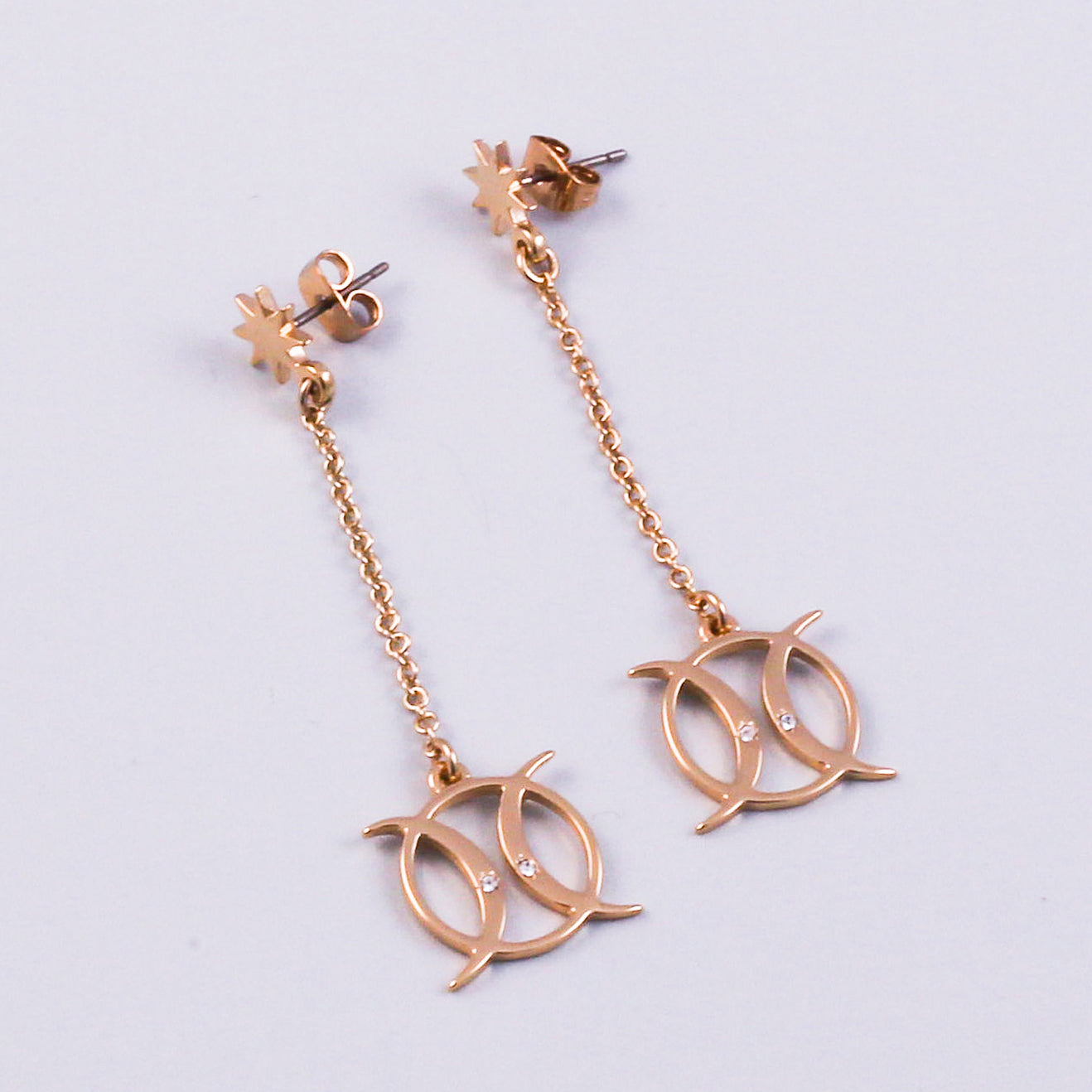 Gold Triple Moon Goddess Symbol Earrings