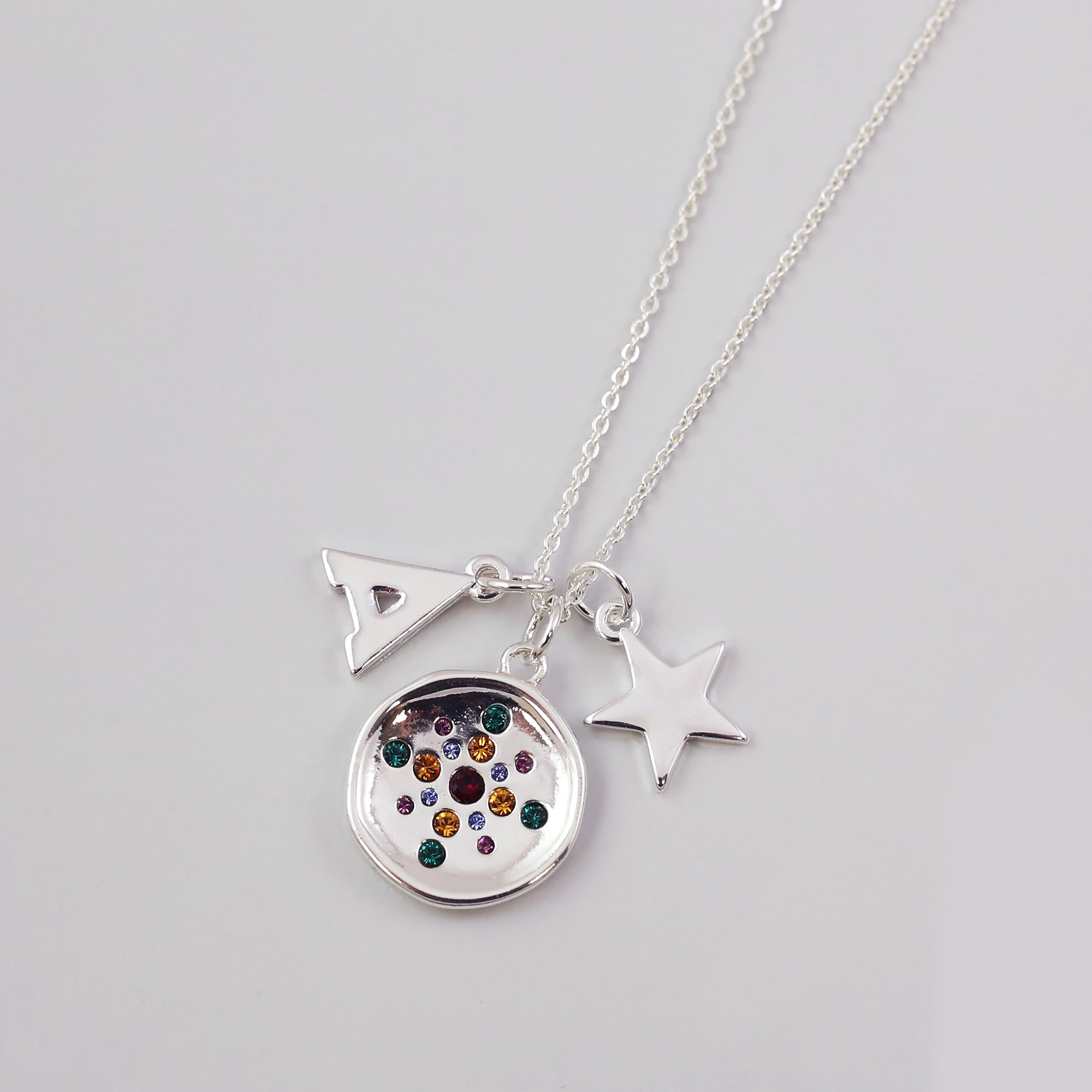 Silver Rainbow Circle Necklace