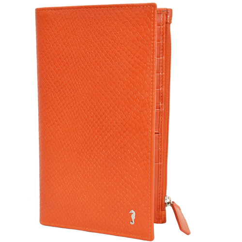 w451 snake embossed wallet in orange front view