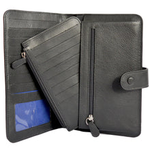 W456 travel wallet in black open view