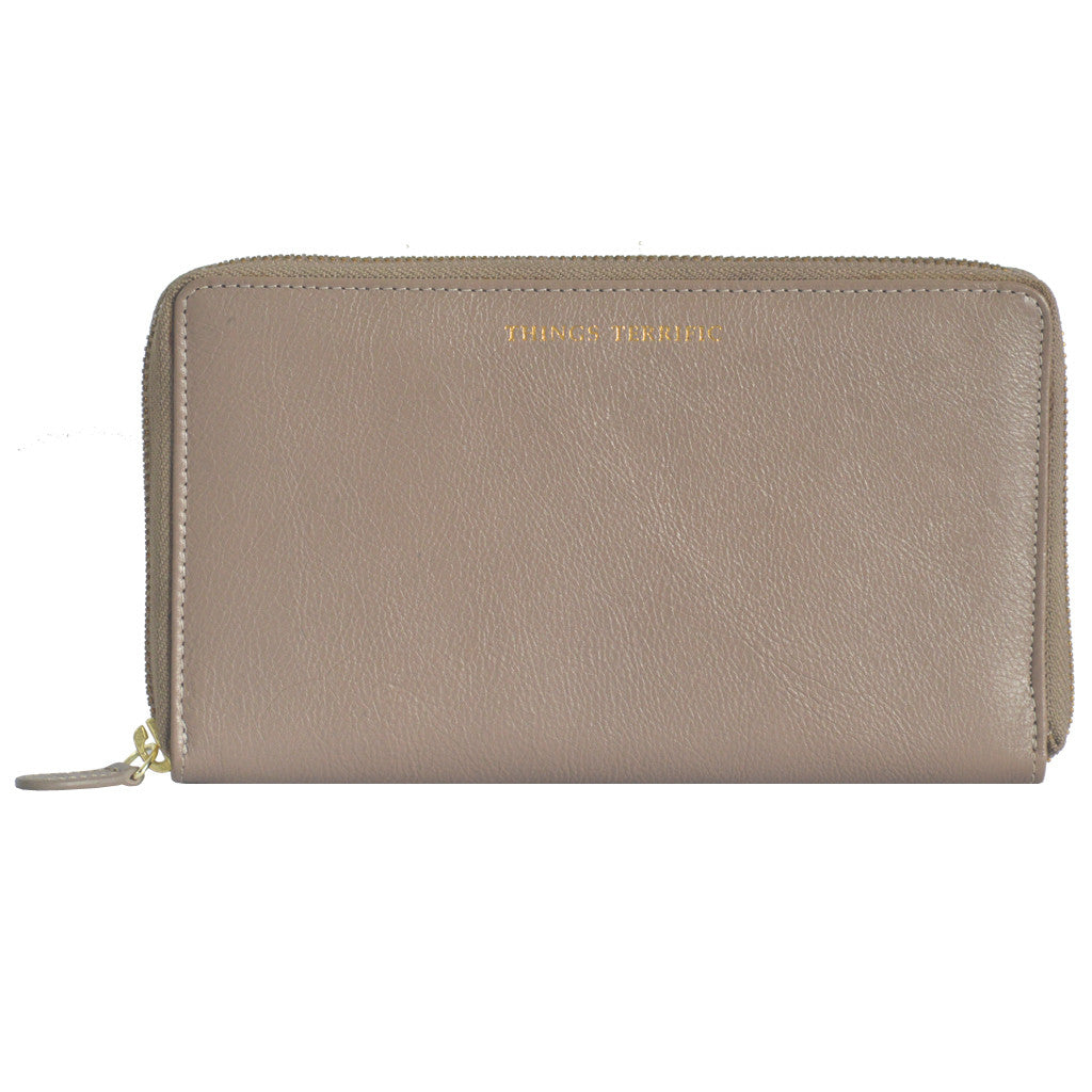 W465 Large Zip Around Wallet - Taupe