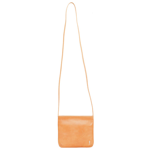 Daisy Slimline Leather Sling bag in tan front