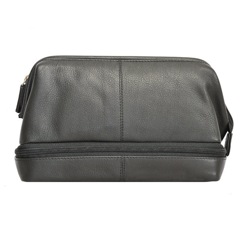 77002 Twin Compartment Black Washbag Front Image