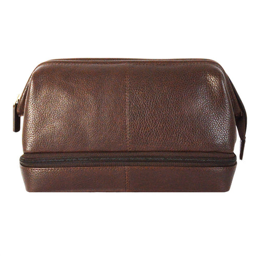 77002 Twin Compartment Brown Washbag Front Image