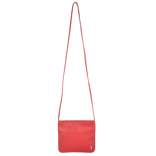 Daisy Slimline Leather Sling bag in scarlett red front view