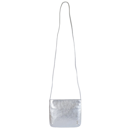 Daisy Slimline Leather Sling bag in Silver Front view