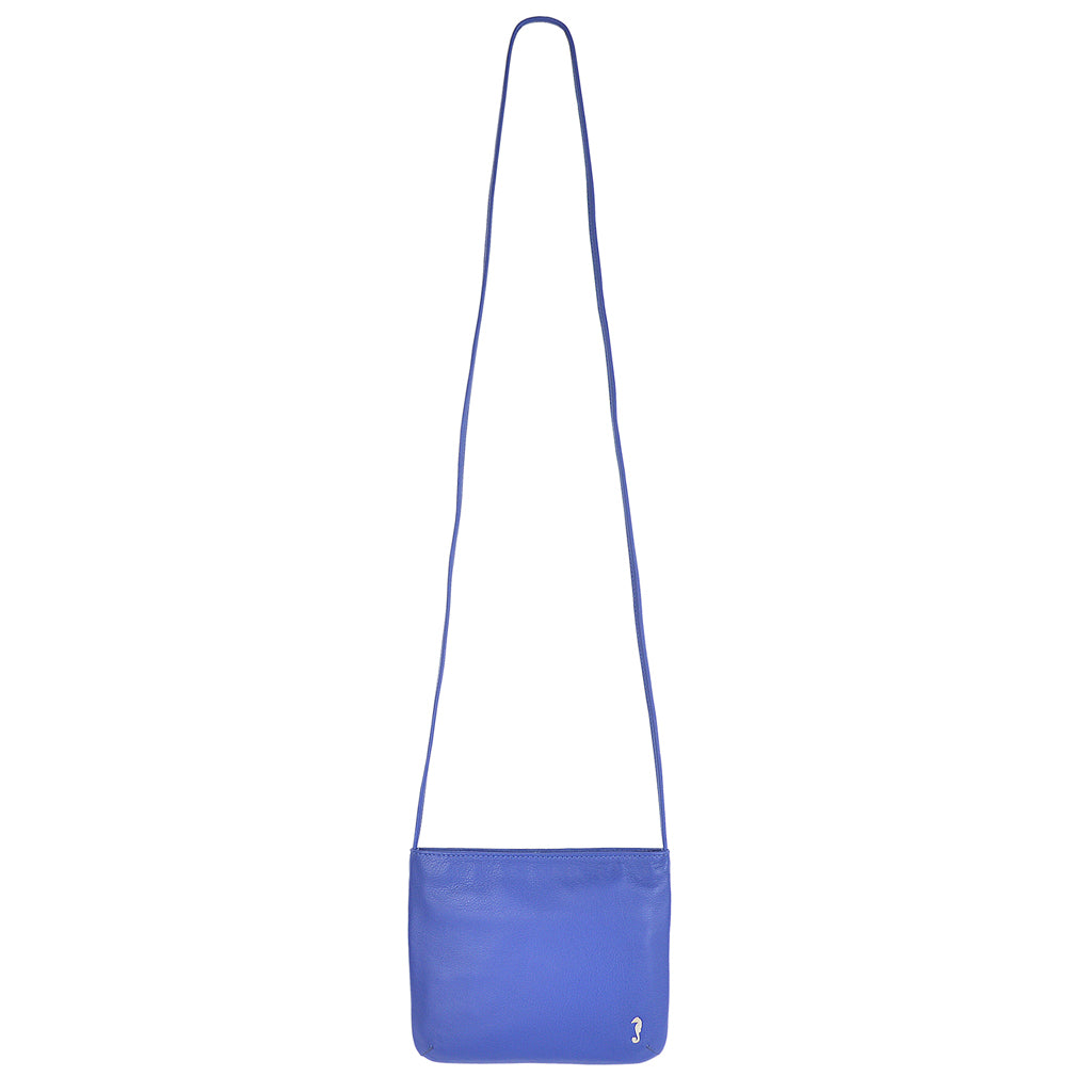 Daisy Slimline Leather Sling bag in summer blue front