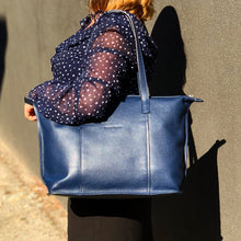 sophia tote in crepe blue on a model