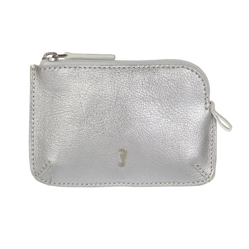 Holi Coin Purse Metallic Silver Front View