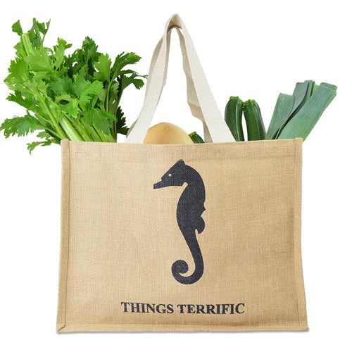 Jute Shopper Tote with Shopping