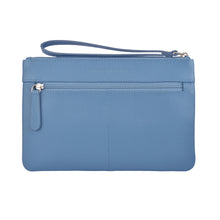 milly clutch wallet with hand strap in cadet blue rear view