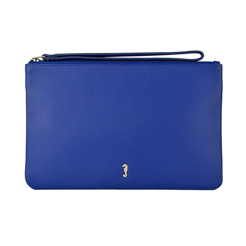Mlly Clutch with Strap in Summer Blue Front View