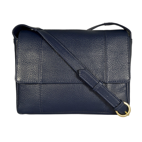 Natalie Cross Body in Crepe Blue Front Image