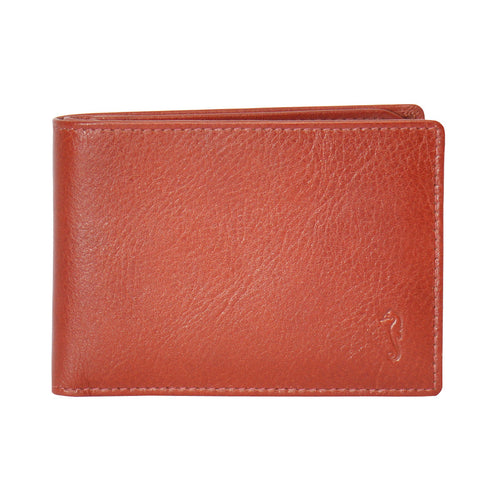 ollie slimline wallet in redwood front view