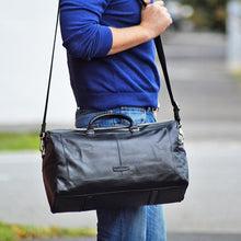 pacific travel bag in black on model