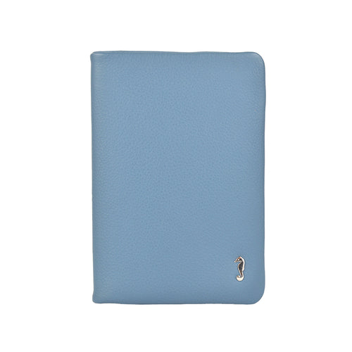 rosie soft fold wallet in cadet blue front view