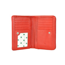 rosie soft fold wallet in red open view