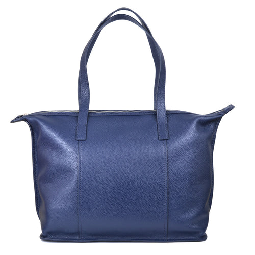 sophia tote in crepe blue front view