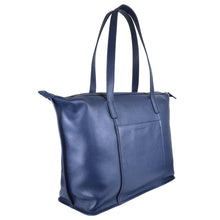 sophia tote in crepe blue side on view