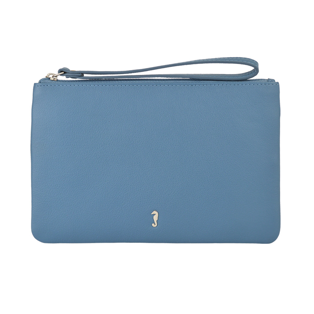 milly clutch wallet with hand strap in cadet blue front view