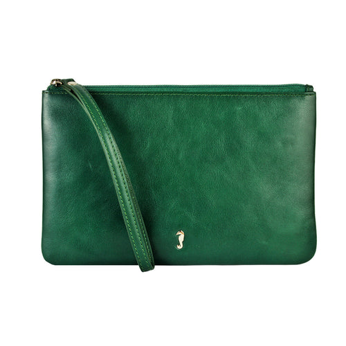 milly clutch wallet wiht hand strap in green front view