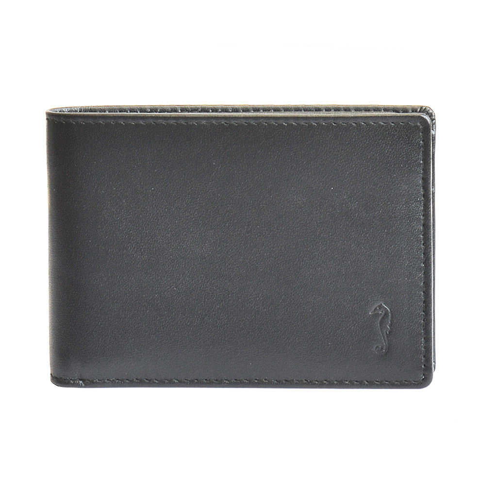 ollie slimline wallet in black front view
