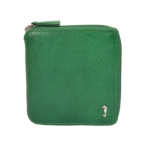 W403 Zip Around Wallet in green front view