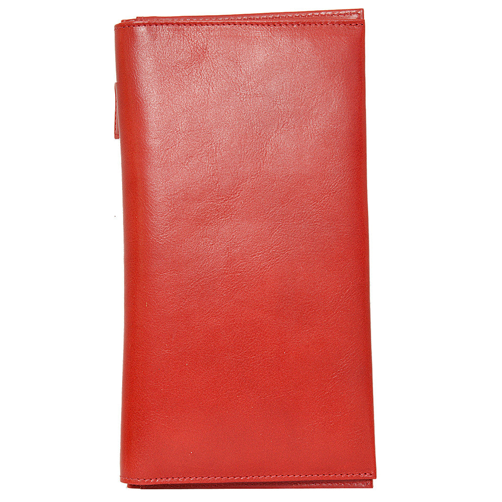 W449 travel wallet in scarlett red front view