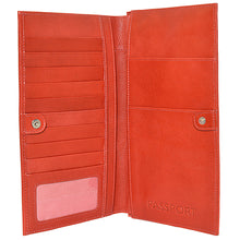 W449 travel wallet in scarlett red open view