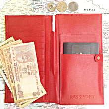 W449 travel wallet in scarlett red open view with passport and notes
