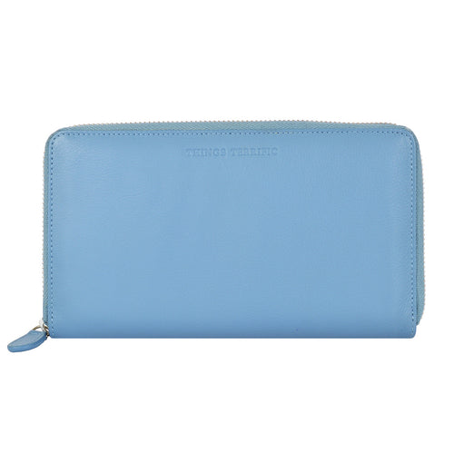 W465 Large Zip Around Wallet - Cadet Blue